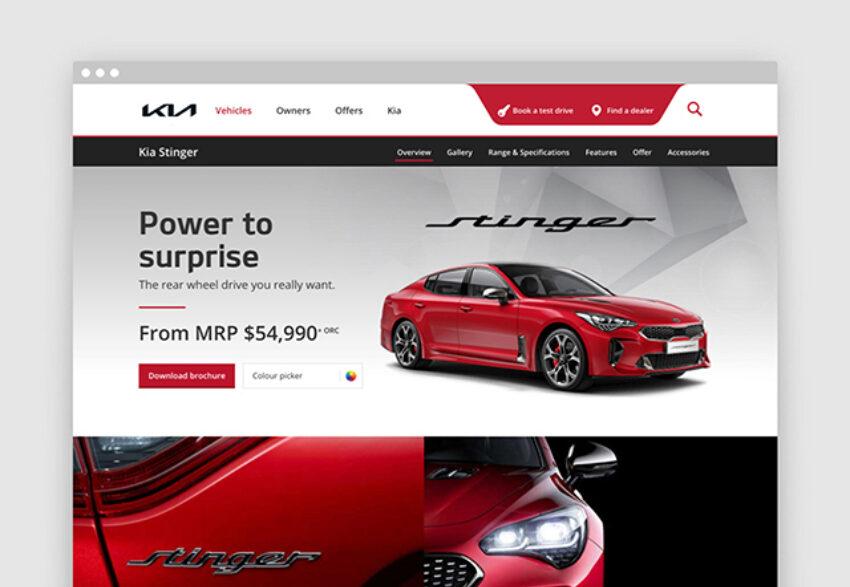 Kia digital homepage on tablet
