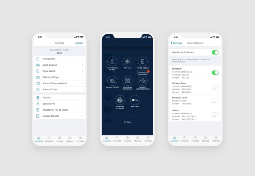 ANZ GoMoney Mobile Screens