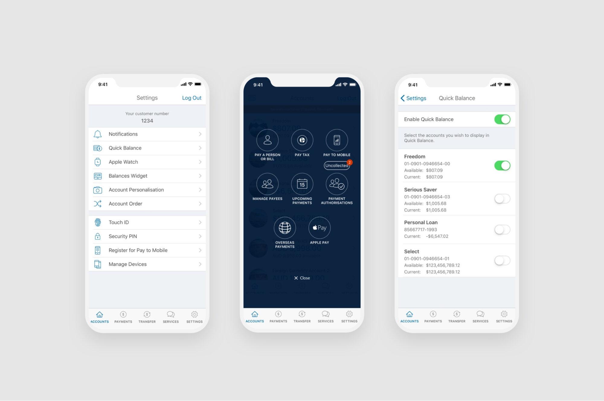 ANZ GoMoney mobile design layouts