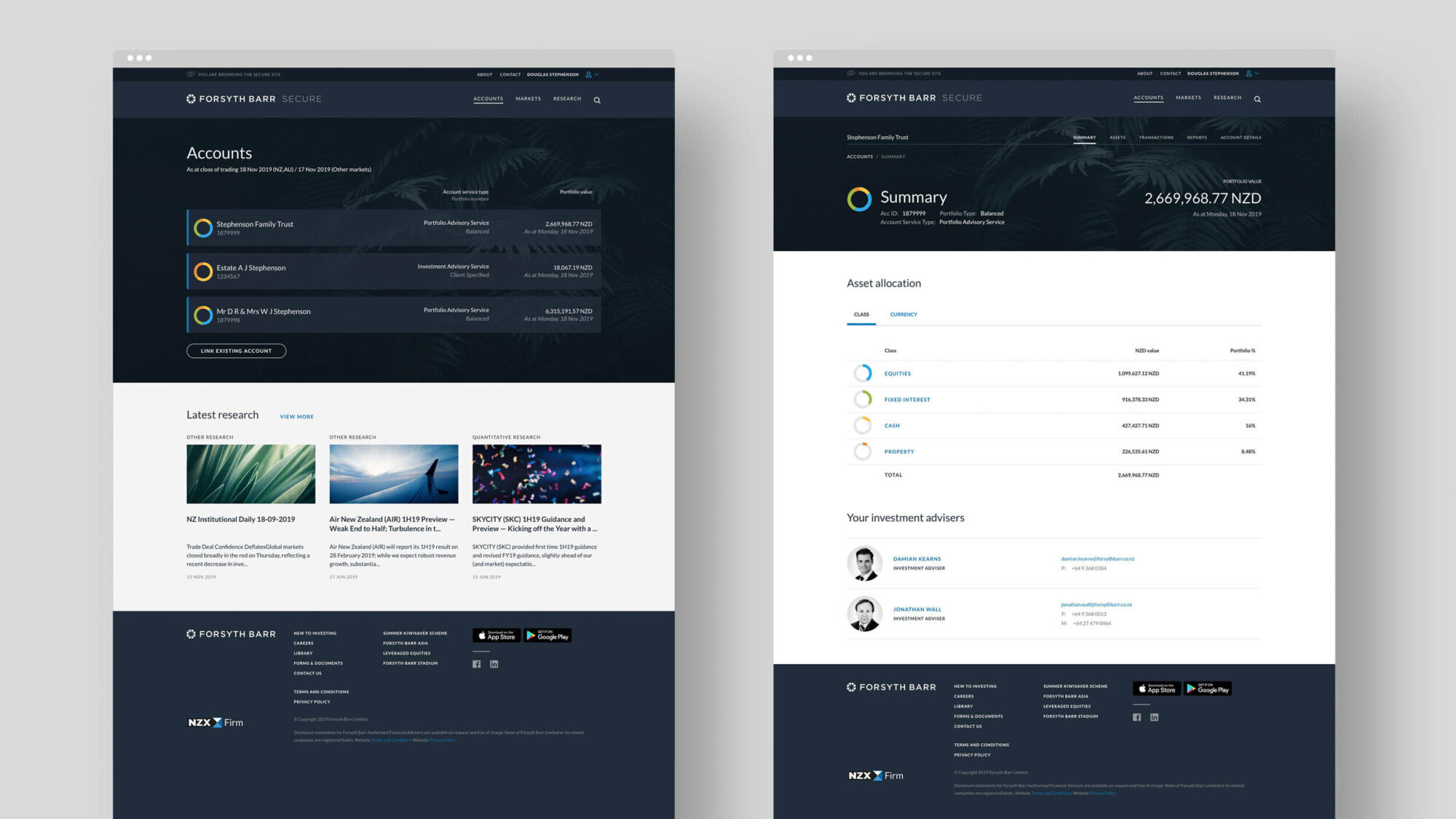 Forsyth Barr Website Design Layout