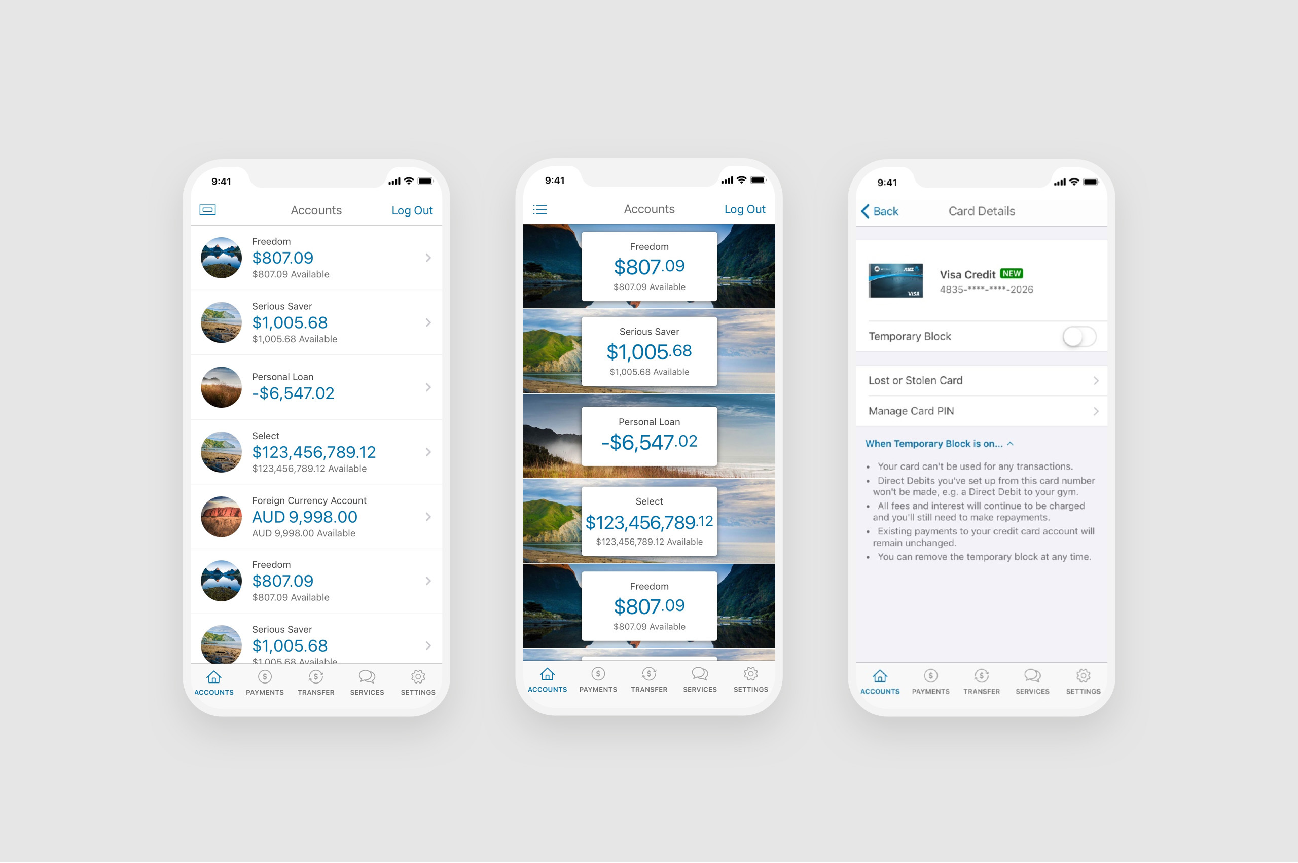 ANZ GoMoney Mobile Design layouts V2