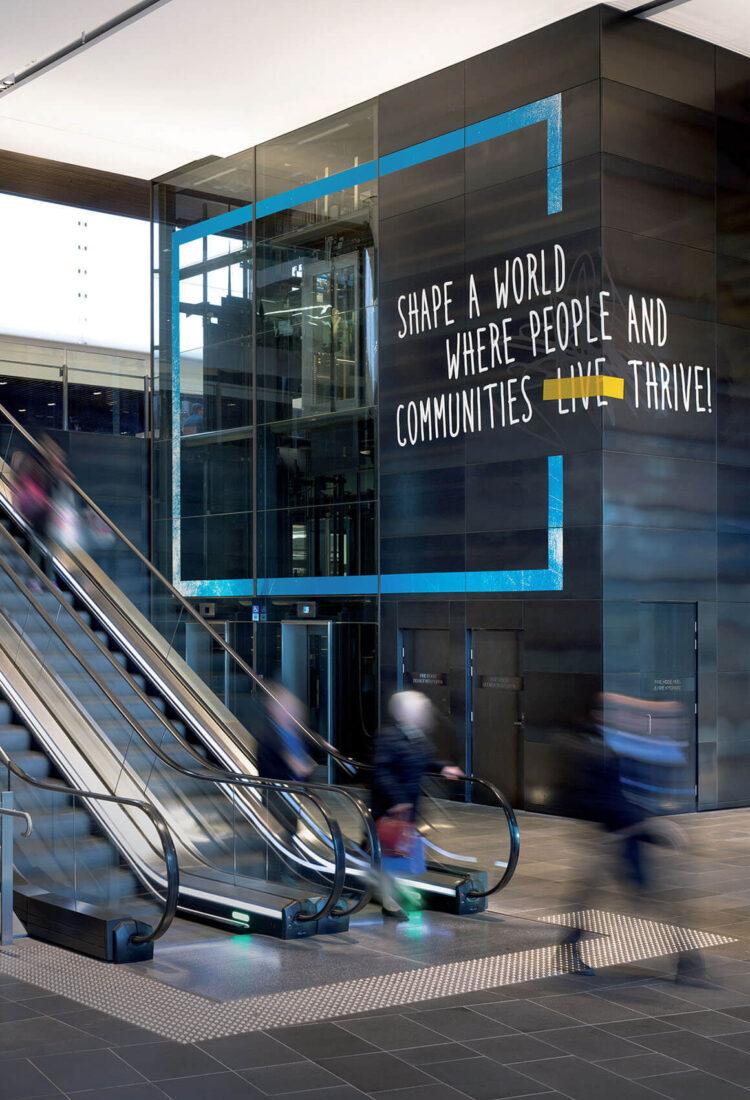 ANZ NWOW installation escalator