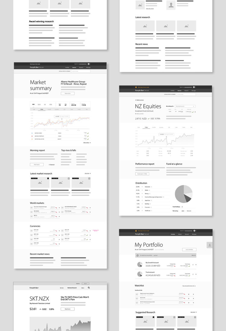 Forsyth Barr digital wireframes